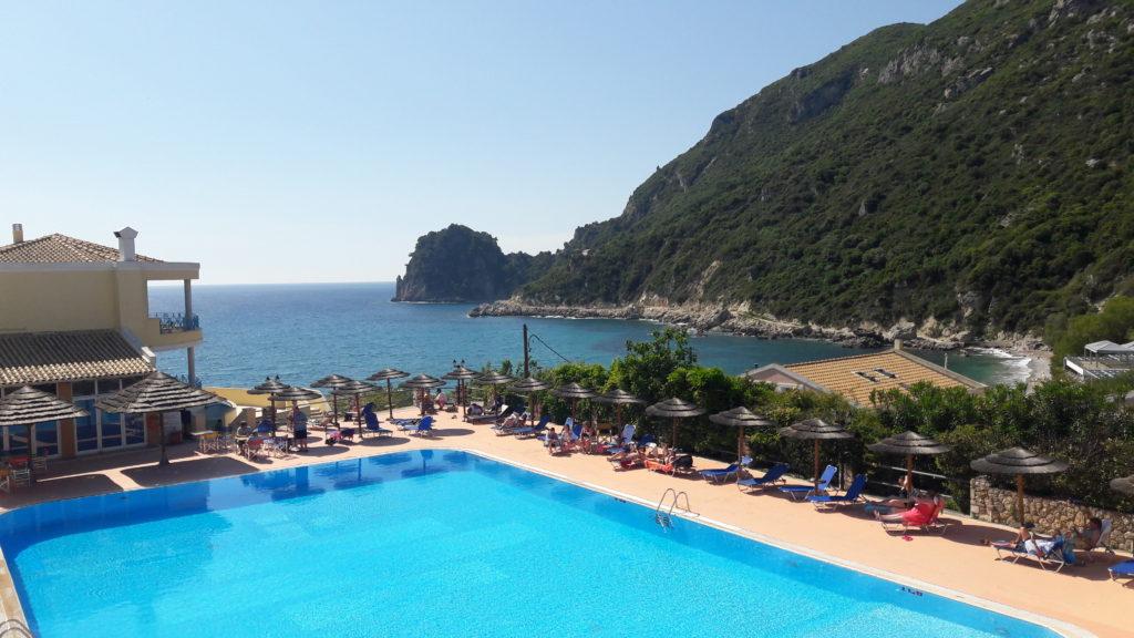 Der Ausblick in den Rosa Bella Corfu Suites